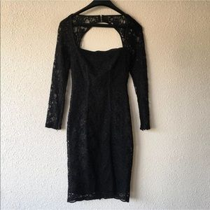Topshop black lace dress w/ slit